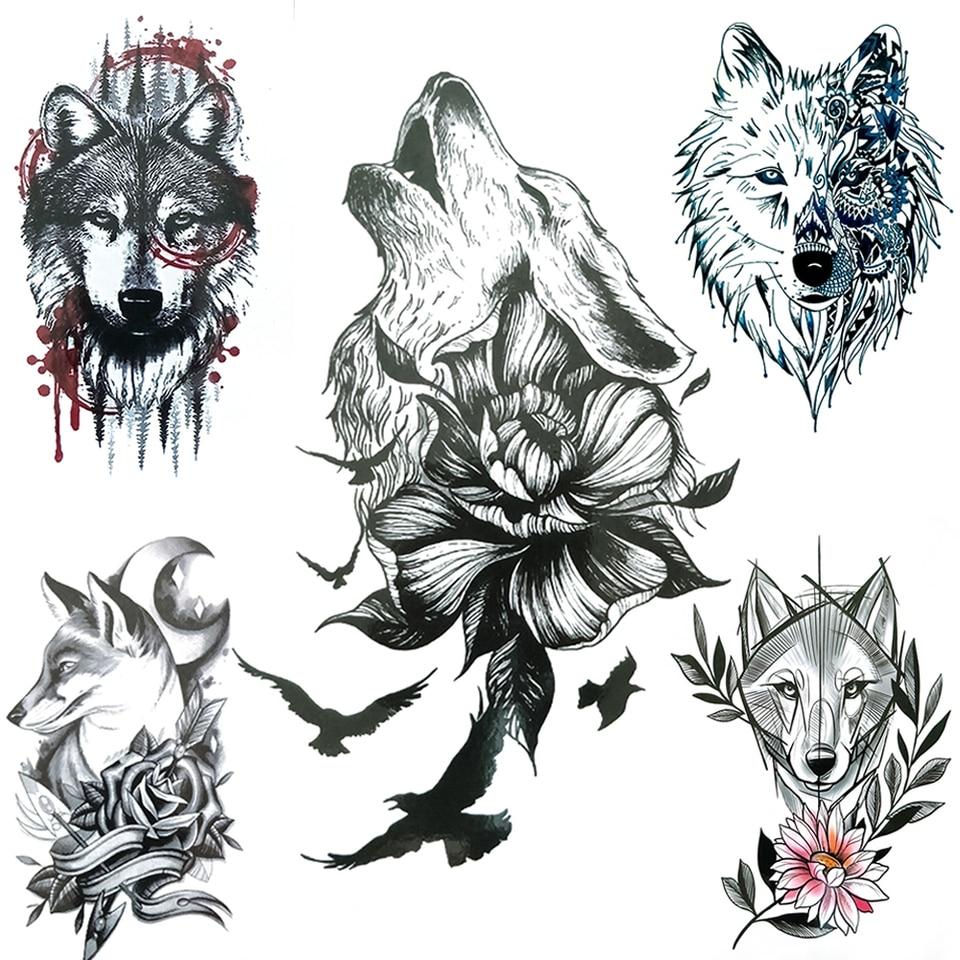 Wolf Daisy Fake Temporary Tattoos For Women Men Adult Geometric Spray Coyote Tattoo Paper Bird Sweat Pea Flower Tatoo Body Hands Temporary Tattoos Aliexpress