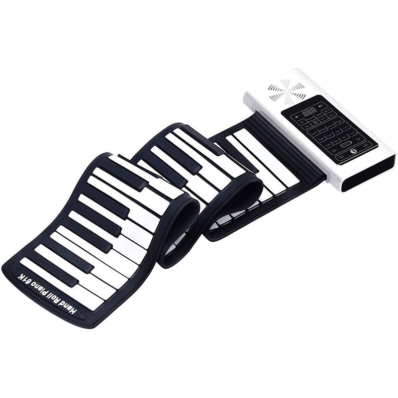 ABUO-Electric Roll Up Piano Portable Foldable 61 Keys Electronic Music Keyboard Piano Battery or USB Powered with Louder Speaker