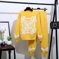 Trajes de punto con pedrería de diamantes de gran calidad para la industria pesada con cuentas de flores de manga larga suéter + Pantalones conjuntos de dos piezas F172
