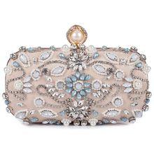 AUAU-Женский Благородный Кристалл бисером вечерняя сумка Свадебный клатч кошелек(абрикос