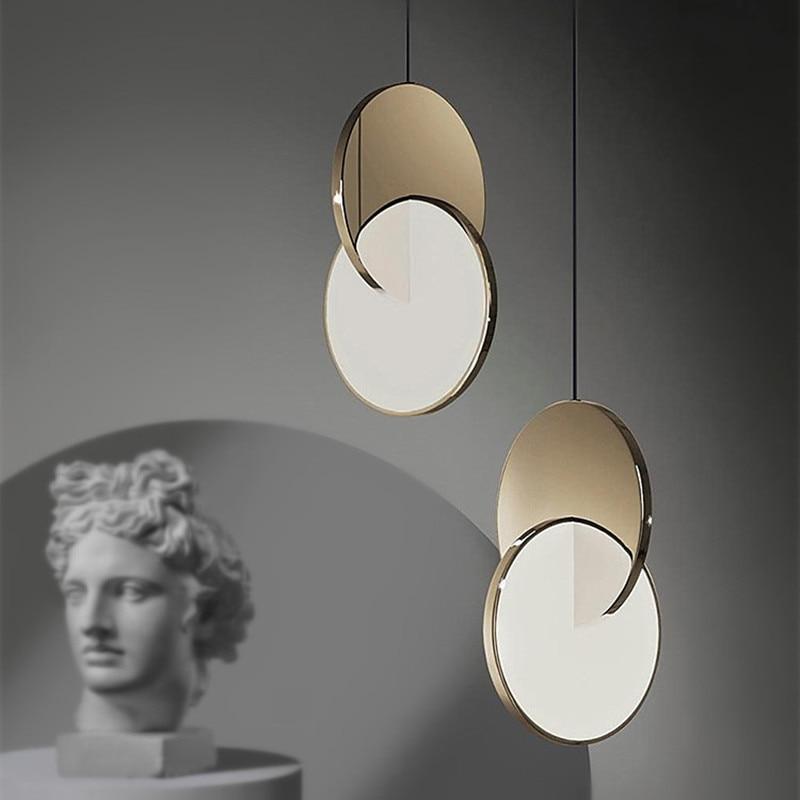 Designer eclipse pingente de luz geométrica pendurado lâmpada círculo ferro pingente luz decorativa barra cozinha iluminação interior pingente