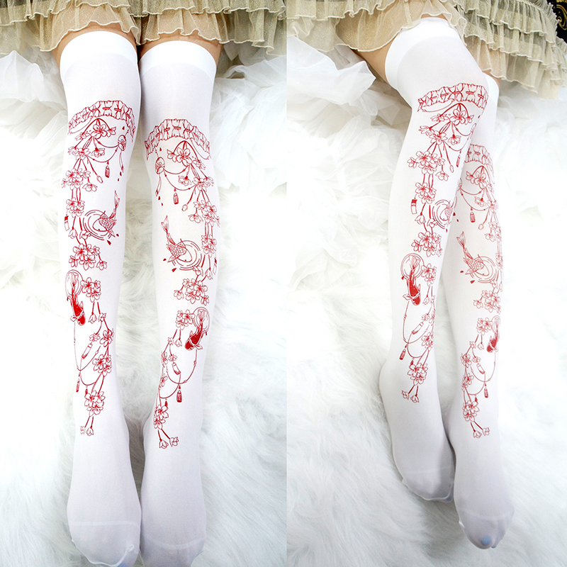 Princess Sweet Lolita Stockings Original White Cherry Fish Red Printed Over Knee Silk Stockings Lolita Sweet Girl Stocking RN023
