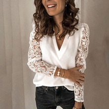 women shirt v-neck tops embroidery lace hollow out long sleeve patchwork