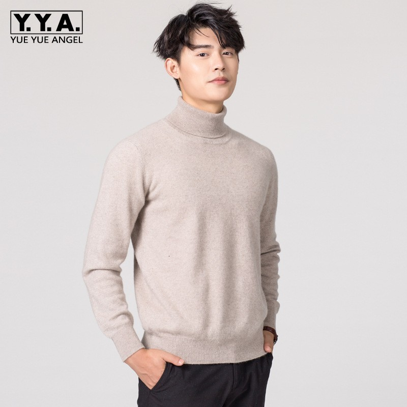 Men Turtleneck Cashmere Sweater Solid Color Pullover Slim Sweater Business Casual Long Sleeve Warm Blouse Tops Plus Size 3XL