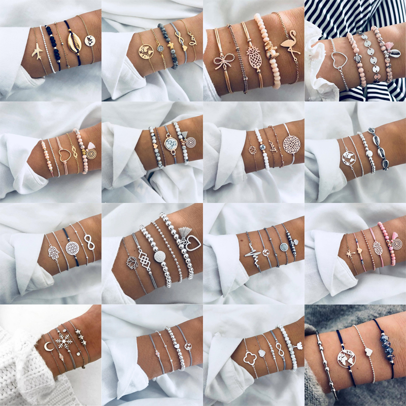 30 Styles Bohemian Bracelet Set For women Shell Star Map lotus pineapple Heart Natural stone Beads chains Bangle Boho Jewelry(China)