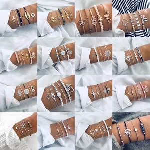 30 Styles Bohemian Bracelet Set For women Shell Star Map lotus pineapple Heart Natural stone Beads chains Bangle Boho Jewelry(China)