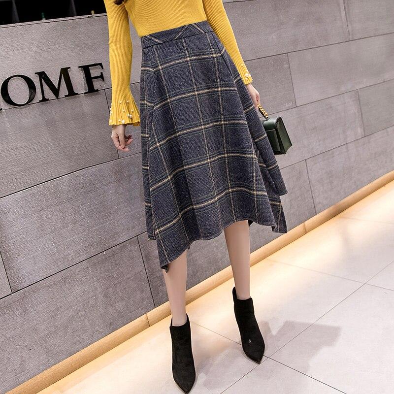 2019 Winter Women Woolen Skirts Autumn Thicken Wool Plaid Elegant Irregular Midi Skirt High Waist Female Skirts Faldas Saia