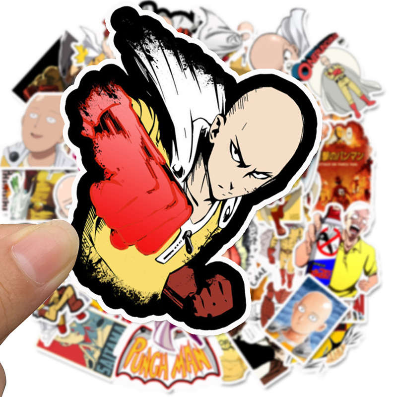49Pcs/lot Japanese Anime ONE PUNCH-MAN Stickers For Car Laptop Phone Skateboard Motorcycle Bicycle Cartoon Sticker F4
