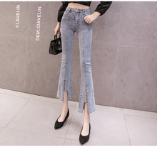 2019 New Fashion Korean Version High Waist Slim Jeans Trousers Irregular Opening Nine-point Ankle-Length Pants for Woman
