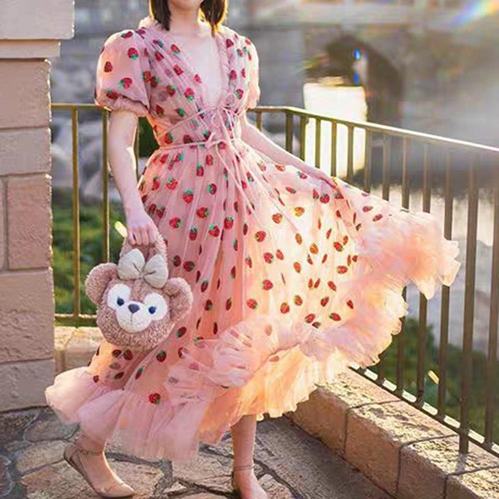 2020 Pink Strawberry Mesh A Line Long Dress Sexy Deep V Neck Lace Short Sleeve Princess High Waist Ruffles Dress 2020 Summer