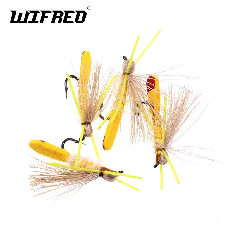 Wifreo 4PCS Yellow Hopper Madam Dry Fly Brown Rainbow Cutthroat Trout Fly Fishing Fresh Water Foam Flies Size #10
