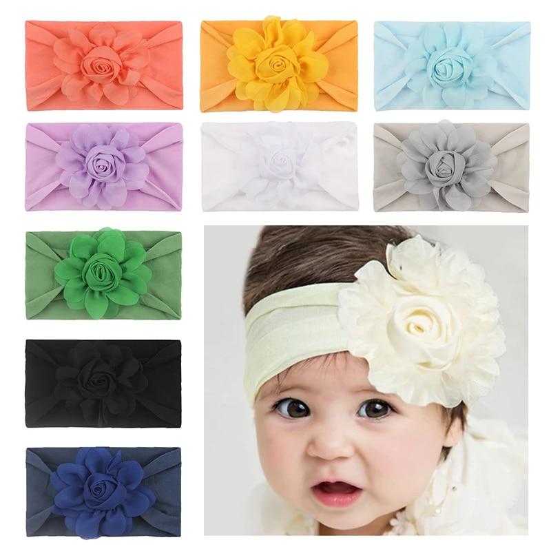 Lovely Hairband Soft Baby Head Wrap Big Flowers Pearl Headband Turban