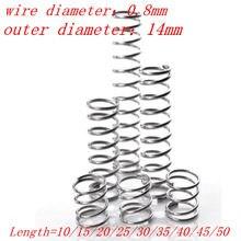 10 pces 0.8mm 0.8*14 * l mola de compressão de aço inoxidável. Diâmetro exterior 14mm comprimento 10/15/20/25/30/35/40/45/50