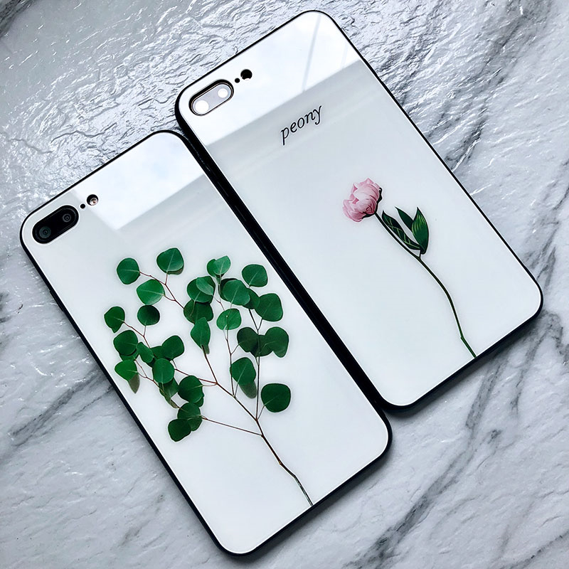 Tempered Glass <font><b>Case</b></font> For <font><b>OPPO</b></font> A59 A39 A57 A1 A73 A79 A83 <font><b>case</b></font> Simple Green plant Hard Cover For <font><b>OPPO</b></font> A7X A77 A37 <font><b>A33</b></font> Phone Casing image