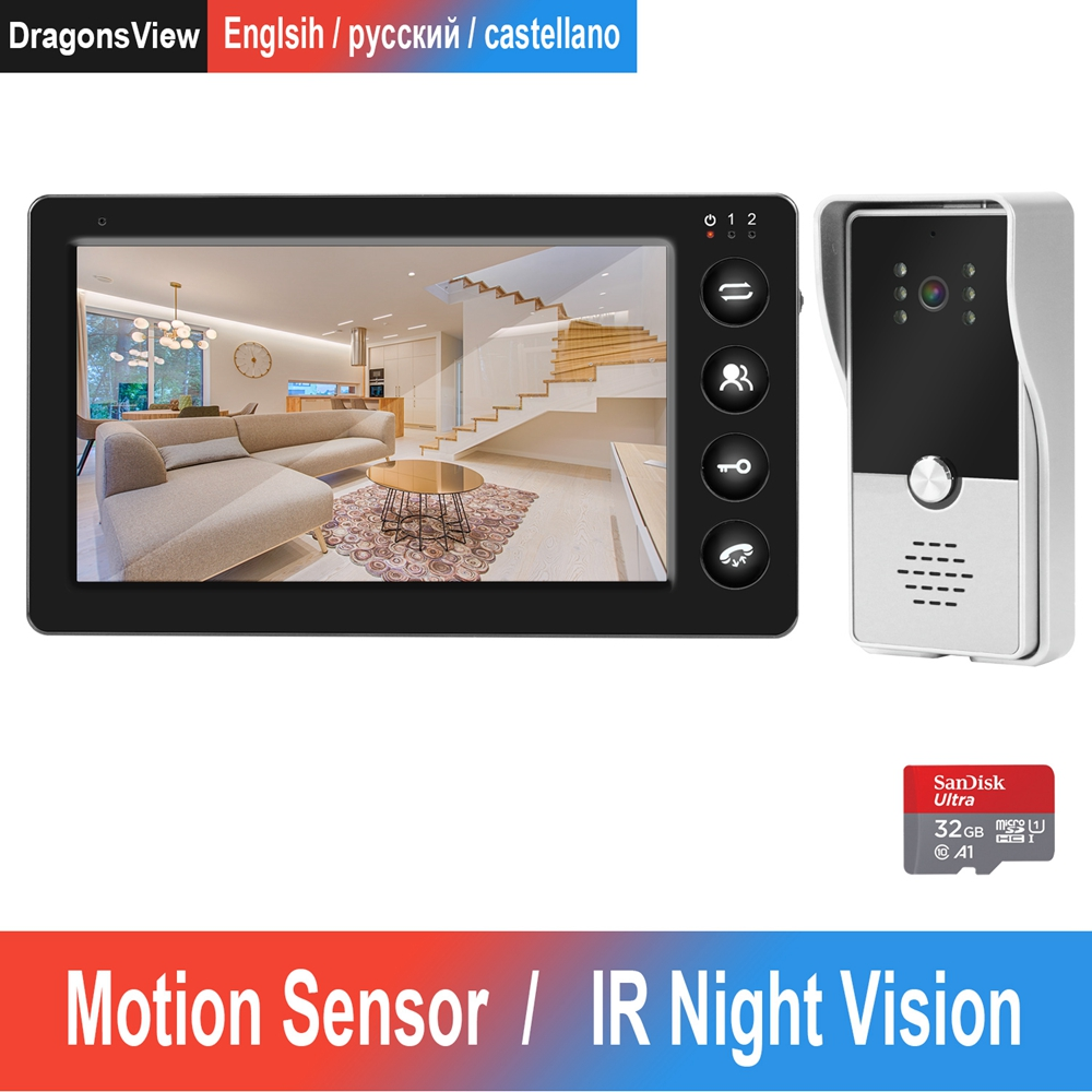 Door Intercom Wired Video Door Phone With Motion Detection Record For Home HD IR Video Doorbell Support CCTV Camera And Unlock