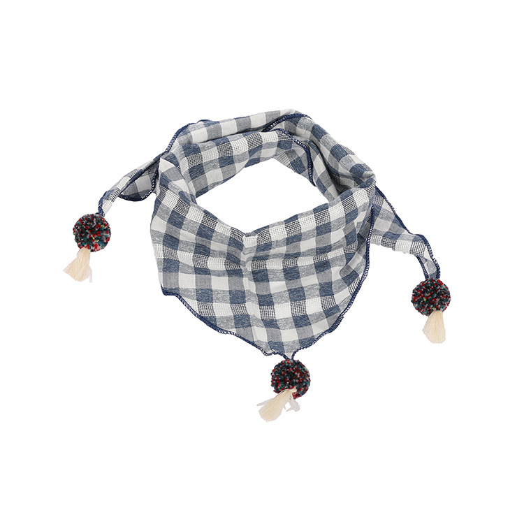 Baby Boy Girl Kids Plaid Pattern Cotton   Scarf   Autumn Winter Warm Tassel Triangle Towel   Wraps