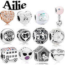 Ailie fit original Pandora charm bracelet DIY personality simple fashion jewelry high-quality lady 925 sterling silver beads