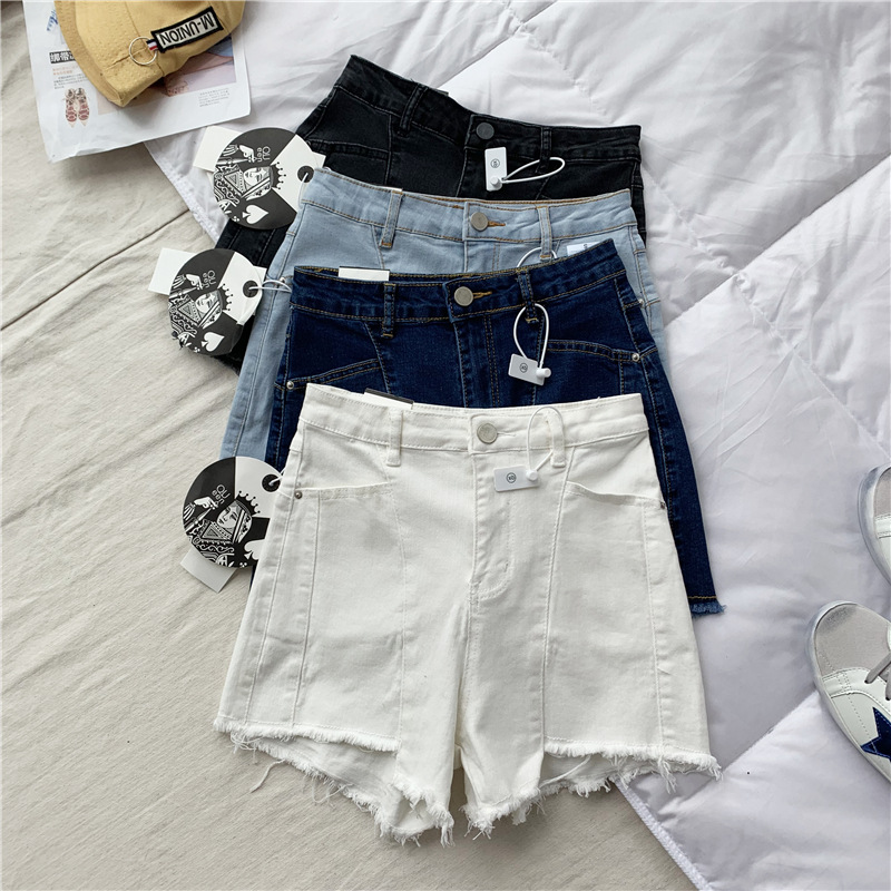 Important Bomb! Giant Significant Leg Length And Thin! Korean-style High-waisted Slimming A- line Slim Fit Fur Trim Denim Shorts image