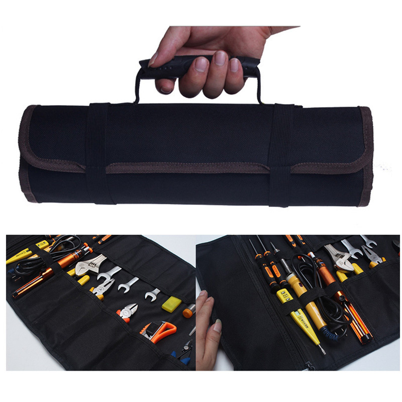 Roller Tool Bags Multifunction Practical Carrying Handles Bags Oxford Canvas Chisel Electrician Toolkit Instrument Package Case