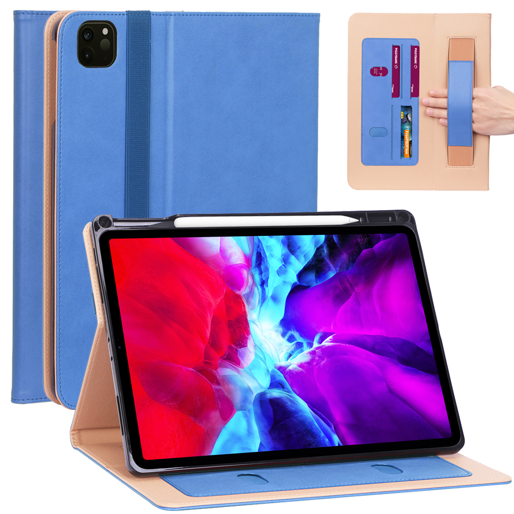 3 Blue Business Smart Case For iPad Pro 12 9 2020 Case 12 9 inch Leather Smart Case