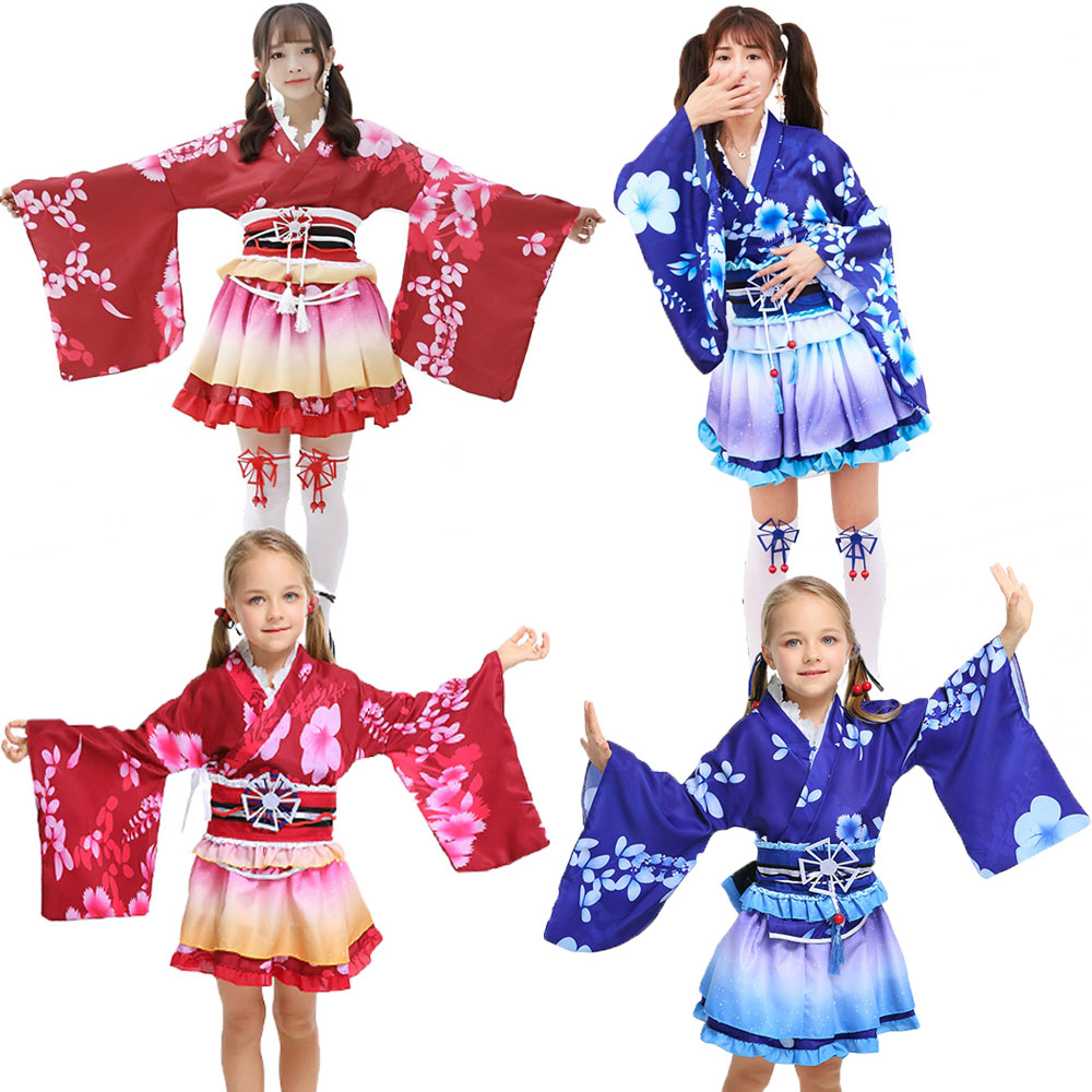 Umorden Kids Child Girls Love Live Sonoda Umi and Nishikino Maki Cosplay for Teen Girl Women Japanese Kimono Costumes