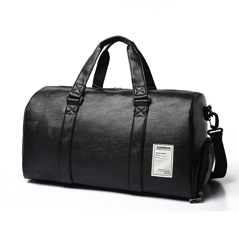 Sport Bags Leather Gym Bag Big Men Training Tas For Shoes Lady Fitness Yoga Travel Luggage Shoulder Black Sac De Sport