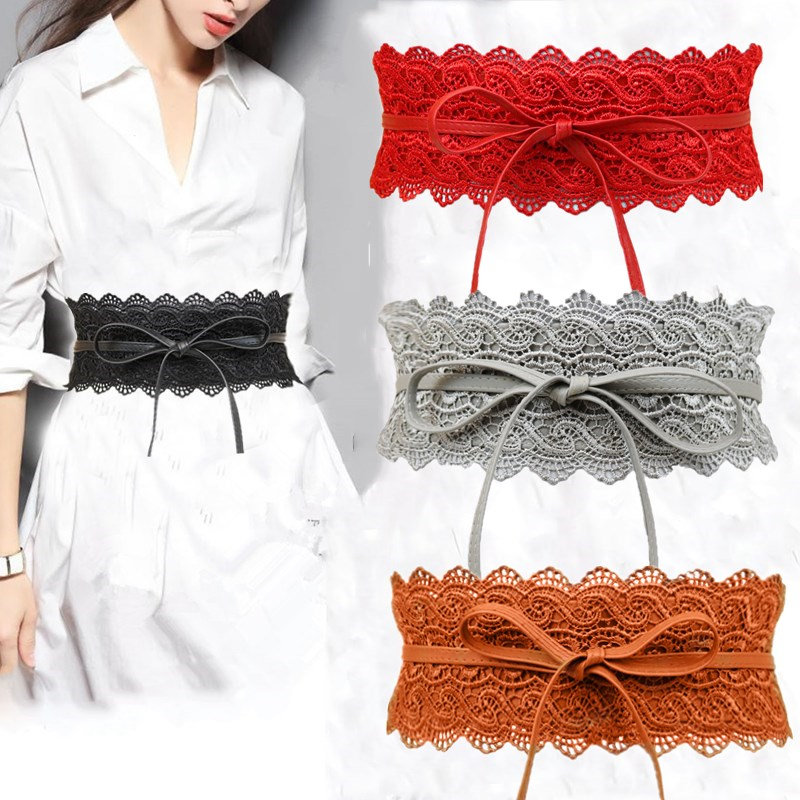 Ladies Lace Wide Belt Pure Colors Fashion Delicate Lace Ultra Wide Waist Seal Sweet Flower High Quality Temperament Wide Bel