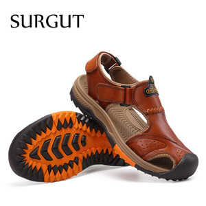 Image 5 - SURGUT buty męskie oryginalne skórzane męskie sandały letnie buty męskie plażowe moda Outdoor Casual antypoślizgowe trampki obuwie rozmiar 46