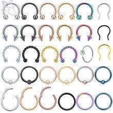 Zs 1 pc colorido 316l aço inoxidável nariz anel 16g & 14g clickr septo anéis tragus cartilagem helix lábio piercing jóias 6/8/10mm