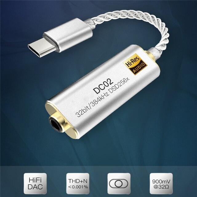 แบบพกพาสำหรับIBassoเครื่องขยายเสียงหูฟังอะแดปเตอร์DC01 DC02 USB DACสำหรับโทรศัพท์Android PCแท็บเล็ต 2.5 มม./3.5 มม.HiFi HiResอะแดปเตอร์