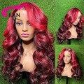 KRN красный 99J Цветной эффектом деграде (переход от темного к выделить Синтетические волосы на кружеве al парики для Для женщин бразильские че...