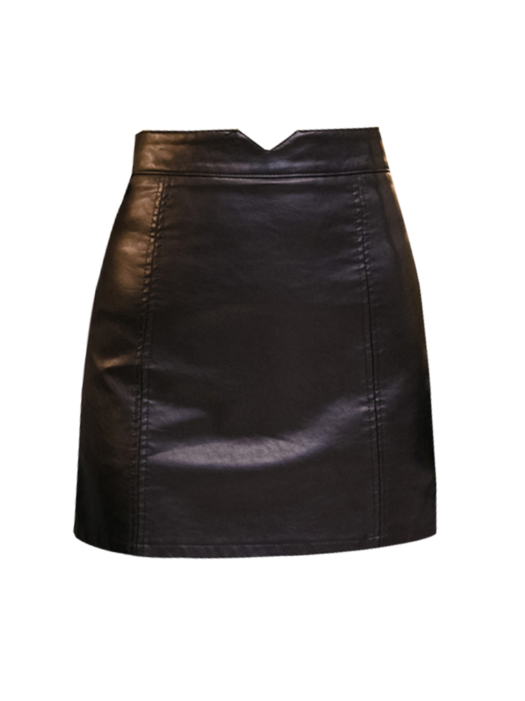 Spring Summer Casual PU Leather Skirt Women Elegant Zipper Mini A-Line Skirt Lady Skinny High Waist Skirts Black