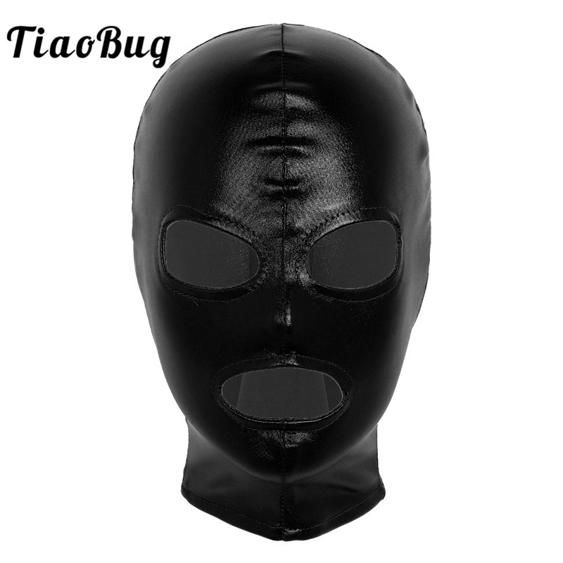 TiaoBug Unisex Women Men Shiny Latex Face Mask Open Eyes Mouth Full Hood Headgear Roleplay Halloween Cosplay Costume Accessories