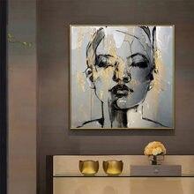 Абстрактная Картина на холсте с изображением золотого лица для