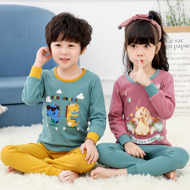 Children pajamas children boys baby clothing kids girls sleepwear  clothing set baby long sleeve home clothing for pyjamas kidsPajama Sets   -