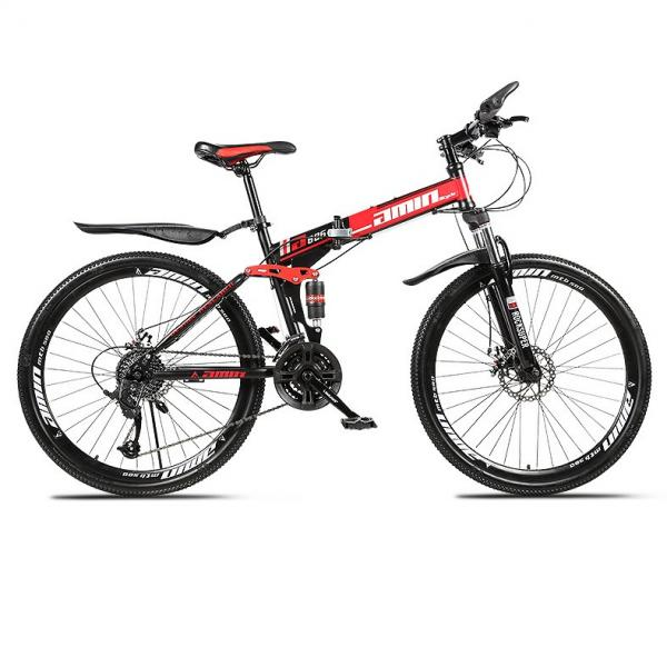 Unisex Adults 26'' 21 Speed Folding Mountain Bikes Premium Carbon Steel Bicycle Shockproof Spoke/Integrated Wheel Mountain Bike