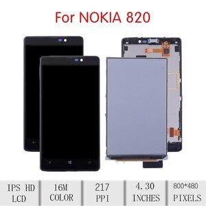 Image 2 - ORIGINAL Für NOKIA Lumia 820 LCD Touch Screen Digitizer Montage Für Nokia 820 Display mit Rahmen Ersatz RM 825 N820 Bildschirm
