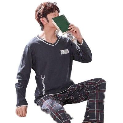 2019 Men'S Pajamas Long Sleeve Cotton Spring And Autumn Cartoon Teen Pajamas Men'S Summer Cotton Student Home Service Set