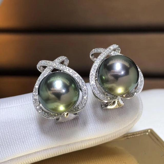 Fine Jewelry Pure 18 K Rose Gold 10-11mm Natural 10mm Tahiti Round Pearl Earrings for Women Fine Pearl Earrings 5