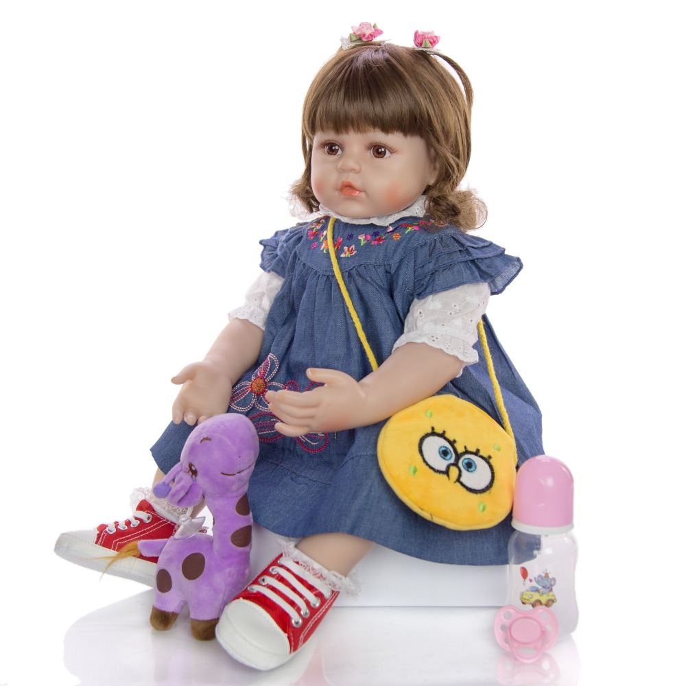 Lovely <font><b>60</b></font> <font><b>cm</b></font> bebe <font><b>doll</b></font> <font><b>Reborn</b></font> Toddler Girl 24 Inch Lifelike Princess silicone vinyl <font><b>dolls</b></font> lol For Kids Children's Day Gifts image