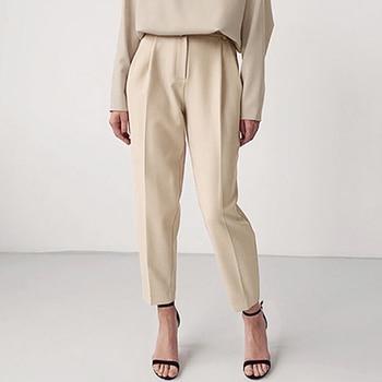 OOTN Casual High Waist Khaki Pants Women Summer Spring Brown Ladies Office Trousers Zipper Pocket Solid Female Pencil Pants 2020 7