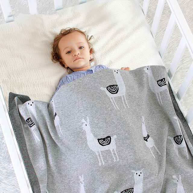 Baby Bed Knitted Blanket Alpaca Newborn Swaddle Wrap Soft Infant Toddler Sofa Bedding Sleeping Blankets Baby Stroller Accessory