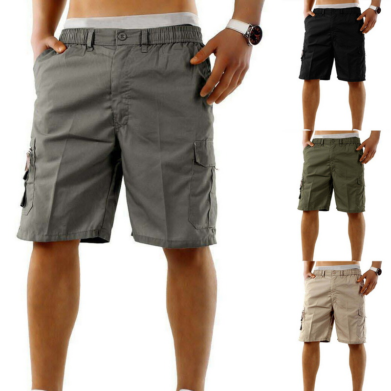 2020 Multi Pocket Cargo Shorts Men Summer Loose Zipper Breeches Shorts Khaki Grey Plus Size  Short Pant Casual Black Shorts
