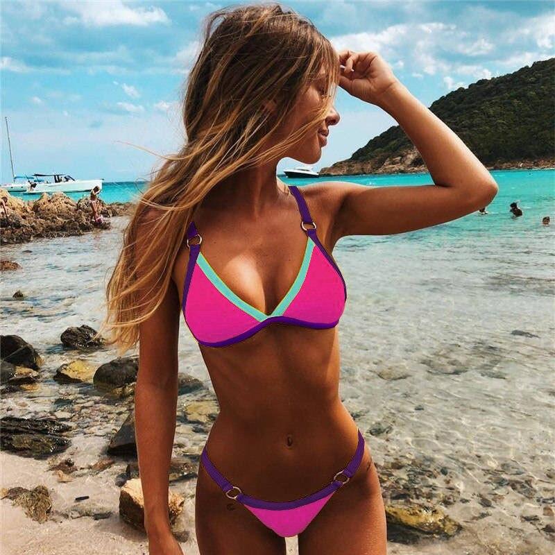 2020 Sexy Thong Micro Bikinis Women Swimsuits Solid Push up Swimwear Female Bikini set Brazilian Biquini Bathing Suit 5