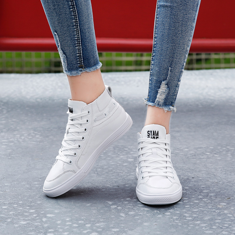 New Autumn Quality Cortex Women Shoes High Top Flats Women Comfortable Vulcanized Shoes Female Shoes Woman Sneakers J5-10