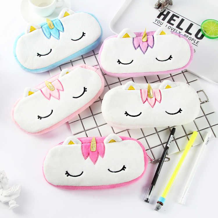 Los niños juguete lápiz casos bolsa de papelería Peluche suave juguete de Peluche de los animales unicornio de Kawaii niños juguete regalo