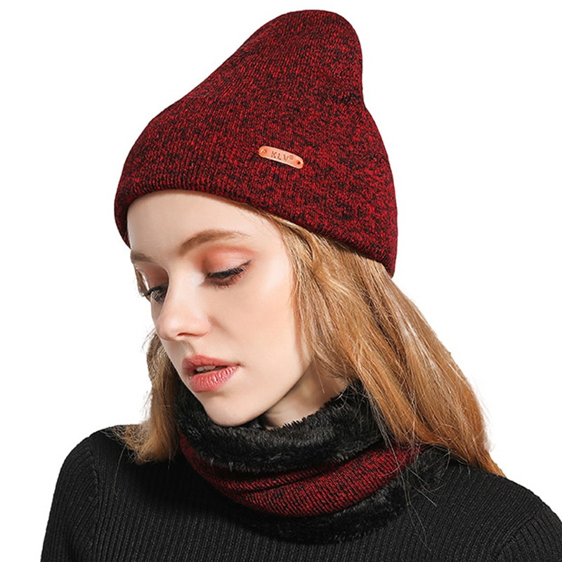 DeRuiLaDy 2019 New Women Neck Warmer Knitted Fashion Wild Hat Sscarf Set Thick Leisure Warm Geometric Beanies Winter Women