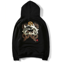 Embroidery Fish Homme Chinese Style Japanese Men Hoodie Sweatshirt Hip Hop Brand Clothes Hoodies Mens Hooded Oversize J932