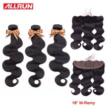 ALLRUN Brazilian Body Wave Hair 1 PC Natural Color Non-Remy Hair Bundles 10