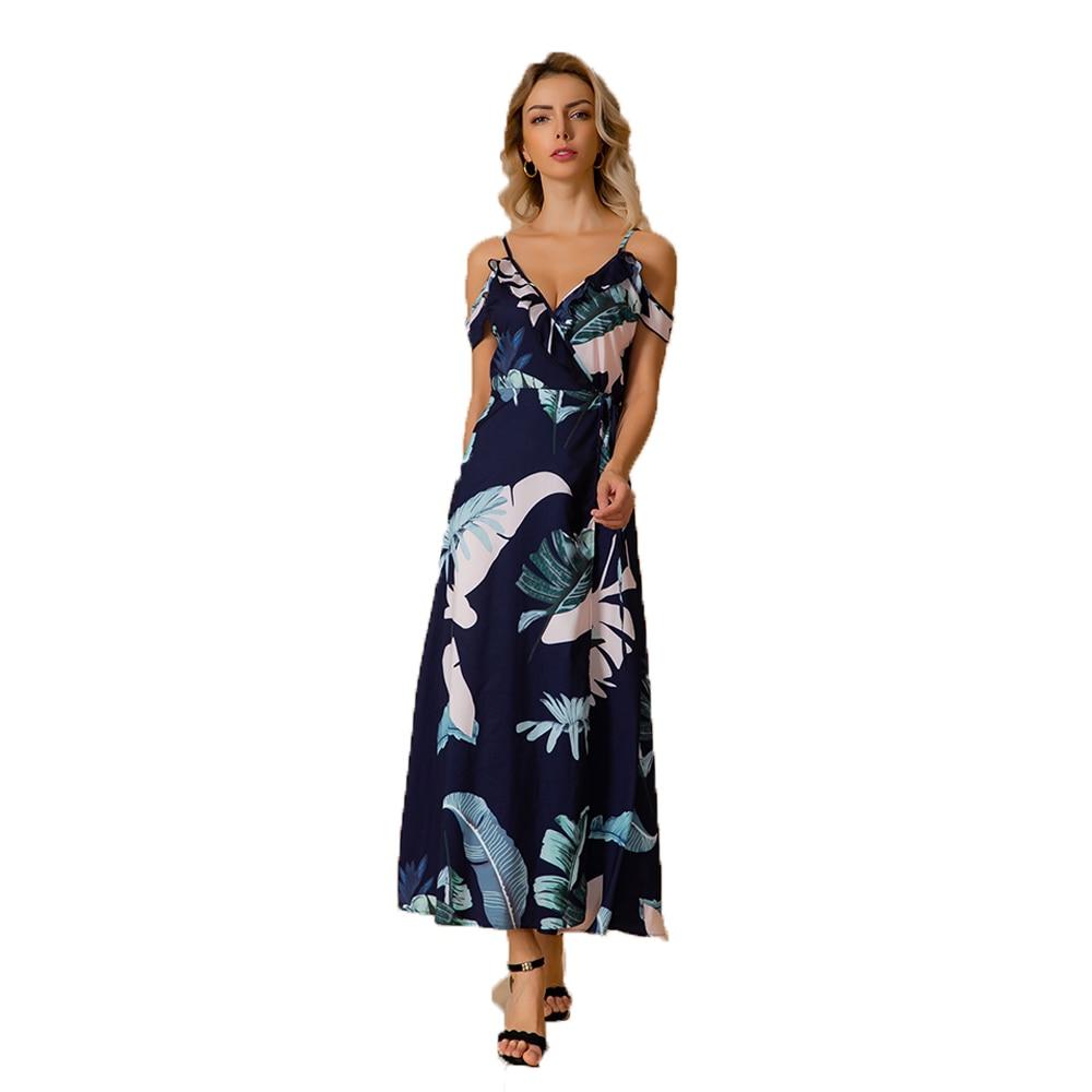 Summer Sexy Ladies Spaghetti Strap Long Dress Women Beach Casual Style V Neck Print Dress Female Evening Partty Clothing